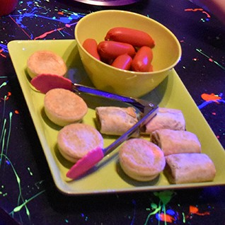 Hot food for kids birthday parties including party pies sausage rolls and hot dogs